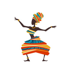 African woman dancing female aboriginal dancer in vector