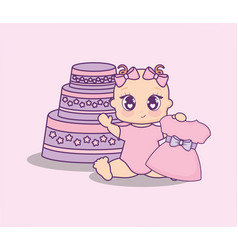 baby shower card with cake and little girl vector image