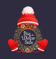 Big winter sale poster warm red hat knitted gloves vector