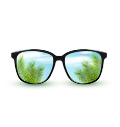 black sunglasses with reflection tropical vector image