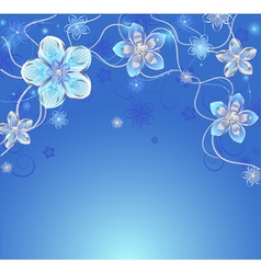 Blue background with silver flowers vector