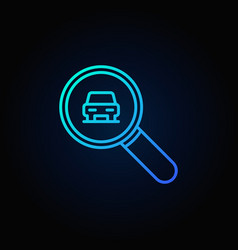 Blue magnifying glass with a car icon vector
