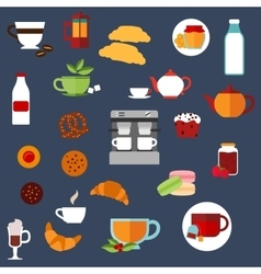Breakfast food and drinks menu flat icons vector image