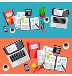 Business office workspace background set vector