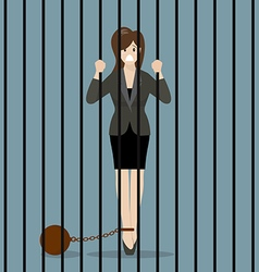 Business woman with weight in prison vector