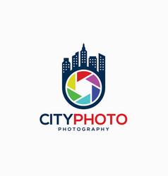 Camera logo - city photography studio logo vector
