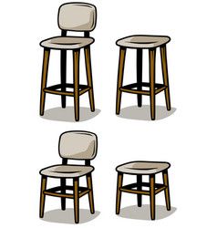 Cartoon wooden chairs icon set vector