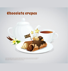 Chocolate pancakes composition vector