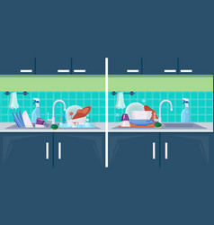 Clean and dirty dish sink with kitchenware items vector