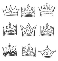 Collection stock crown various doodles vector