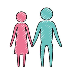 color crayon silhouette pictogram couple holding vector image