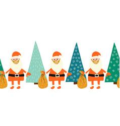 coronavirus christmas border seamless santa claus vector image