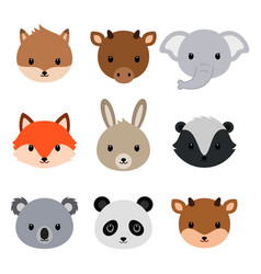 Cute animals collection flat style vector