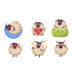 Cute sheep character set funny farm animal in vector