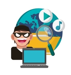 Cyber security and laptop design vector image