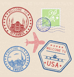 Decorative colored welcome stamps and postal vector