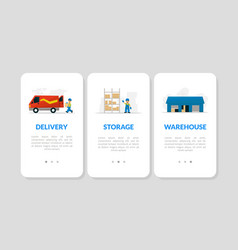 delivery storage warehouse landing page set vector image