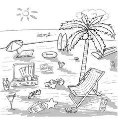 Doodle beach vacation concept vector