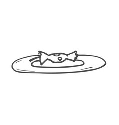 drawing of an apple core on the plate doodle vector image
