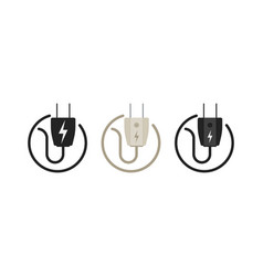 Electric plug icon in shape on a white background vector