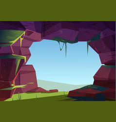 Entrance to cave in mountain hole in rock cavern vector