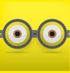 eyes in glasses with shadow on yellow background vector image