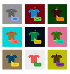 Flat assembly icons of sale t-shirt vector