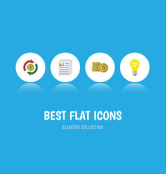 Flat icon incoming set of bubl interchange cash vector