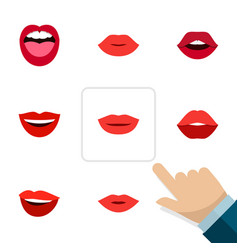 Flat icon mouth set of pomade tongue mouth and vector