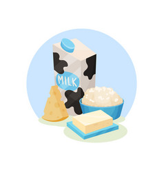 fresh dairy products cheese pack of milk butter vector image
