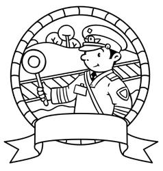 Funny railroader Coloring book Emblem vector