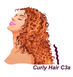 Girl with luxury long curly brunette hairstyle vector