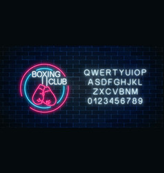 glowing neon boxing club sign with alphabet vector image
