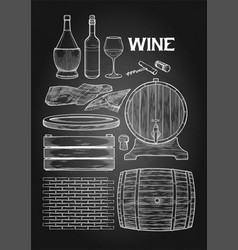 Graphic collection of winery wooden stuff drawn in vector