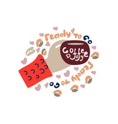 hand holding coffee cup latte americano espresso vector image