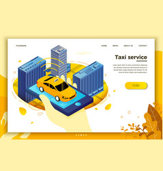 Hand with mobile phone searching for taxi vector