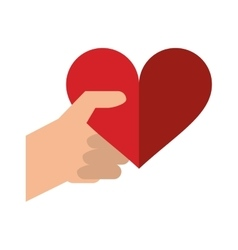 Hand with red heart romantic valentines day vector