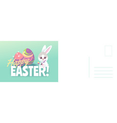 happy easter card cartoon cute bunny painting vector image