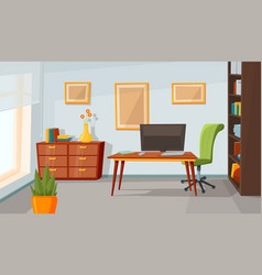 Home office interior room background flat vector