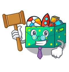 Judge children toy boxes isolated on mascot vector