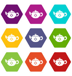 kettle glass icons set 9 vector image