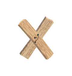 letter x wood board font plank and nails alphabet vector image