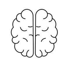Line creative brain with idea over white vector