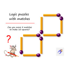 logical puzzle game with matches for children and vector image