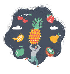 man get big fruit and run vector image