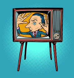 Man inside tv vector