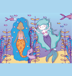 mermaids women underwater with plants and fishes vector image