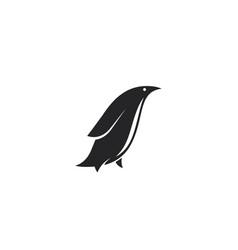 minimalistic penguin logo design black side view vector image