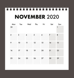 November 2020 calendar with wire band vector