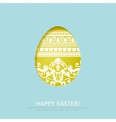 Ornamental cut out egg isolated on blue background vector image